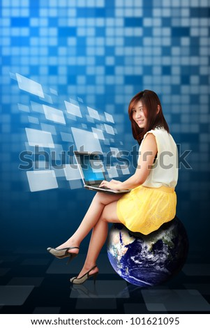 Lady on globe and window icon from notebook computer : Elements of this image furnished by NASA - stock photo