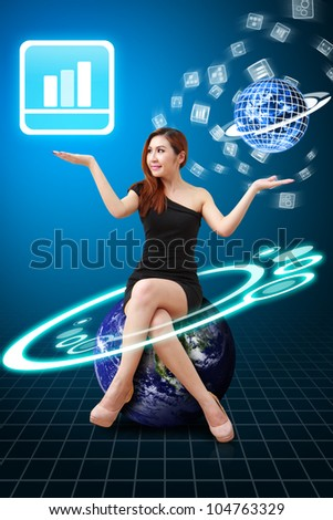 Lady on globe hold Bar graph icon from app world : Elements of this image furnished by NASA - stock photo