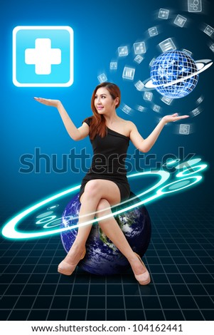 Lady on Globe hold the First Aid icon from app world : Elements of this image furnished by NASA - stock photo
