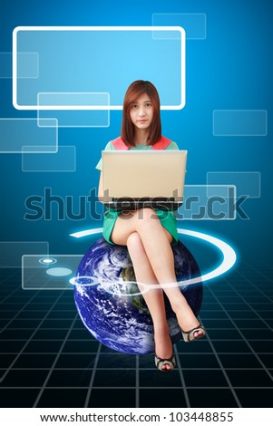 Lady on globe use notebook computer : Elements of this image furnished by NASA - stock photo