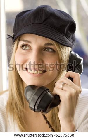 Lady on telephone - stock photo