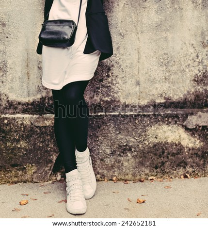 Lady on the streets. Trendy urban Look. black and white style. - stock photo