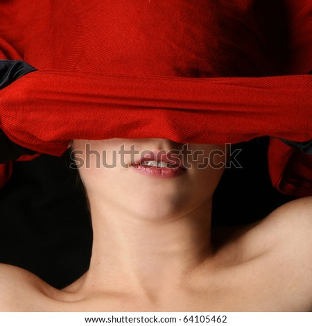 lady over red - stock photo