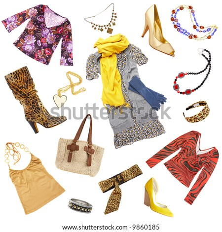 Lady's clothes and accessories on a white background - stock photo
