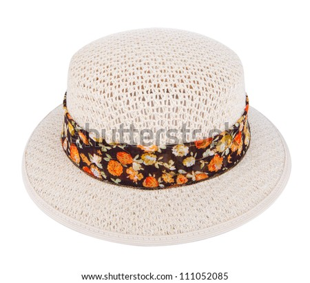 lady's hat isolated on a white background - stock photo