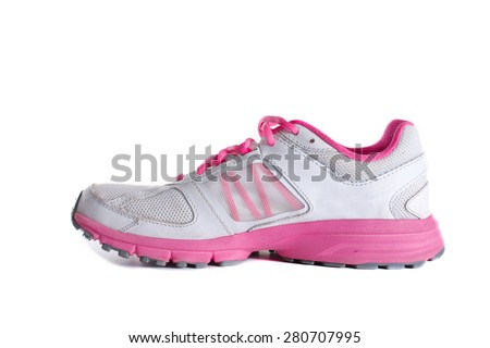 Lady's - women's running shoe - sneaker - trainer, in gray and pink - stock photo