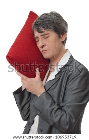 lady sleeping on a cushion on white background - stock photo