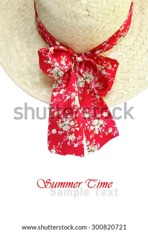 Lady summer straw hat (manual focus) - stock photo