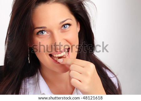 Lady tasting a candy
