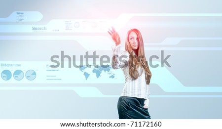 Lady touching hi-tech. Future Interfaces Collection. - stock photo