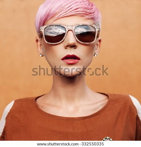 Lady Vintage Style. Short fashionable Hairstyle - stock photo