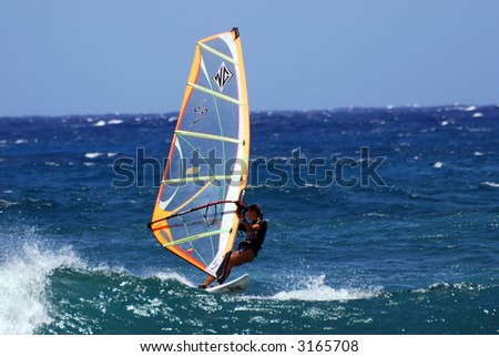 Lady Wind Surfer - stock photo