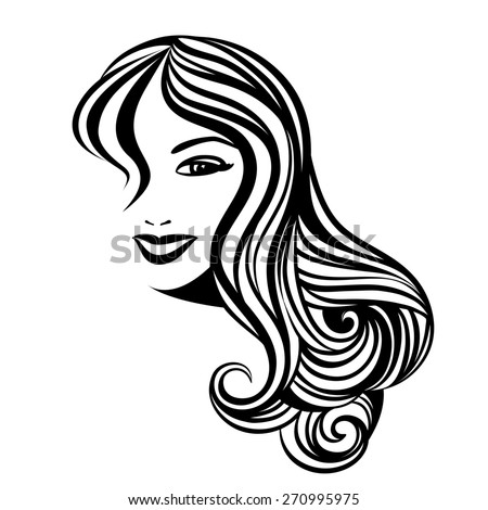 Lady with a long hair portrait isolated on white background - stock photo