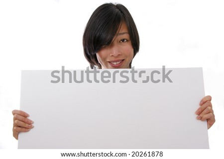 Lady with blank sign