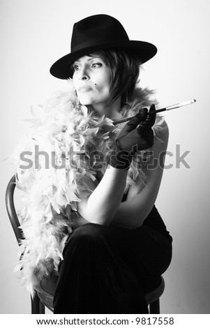 Lady with cigarette - stock photo