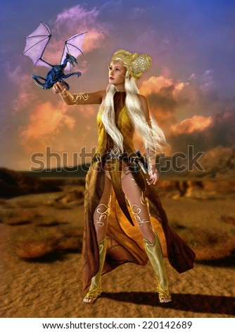 lady with fantasy hairstyle and fantasy clothes with a dragon cub on the arm - stock photo