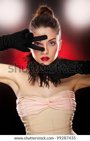 lady with gloves in studio