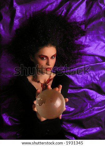 Lady With MakeUp and Crystal Ball