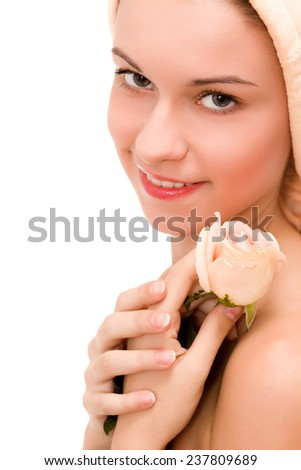 Lady with the rose and beautiful makeup - stock photo