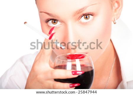 Lady with wine