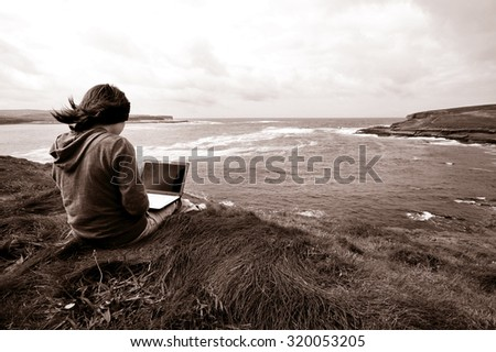 Lady Working Outdoor Network Relaxation Concept