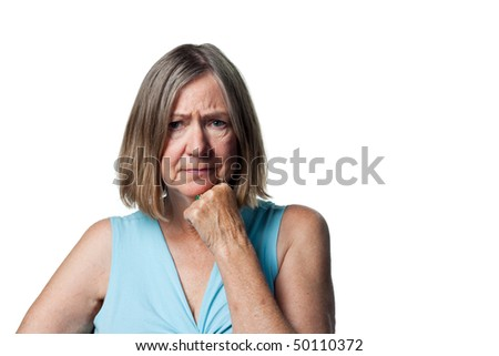 Lady worried about her financial situation frowns - stock photo