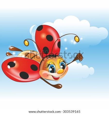 Flying ladybug cartoon