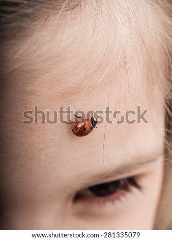 Ladybird bug walking across forehead of a girl with downwards angle - stock photo