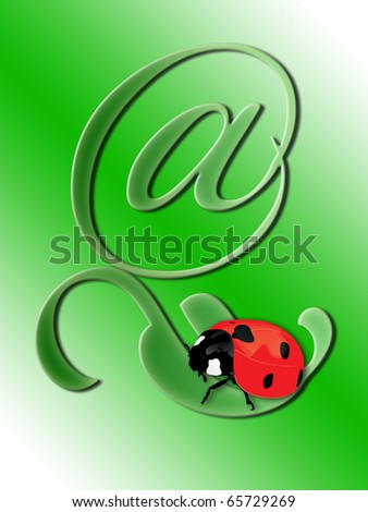 Ladybird on a green leaf in the form of e-commerce - stock photo