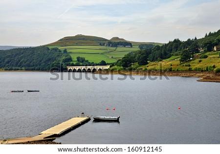 Ladybower Reservoir in Derbyshire - stock photo