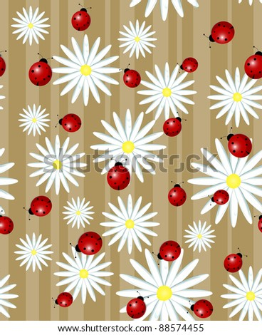 ladybug and daisy on a striped background - seamless texture - stock photo