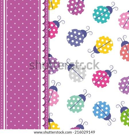 ladybugs and polka dot greeting card illustration - stock photo