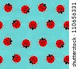 Ladybugs - old-fashioned seamless pattern - stock photo
