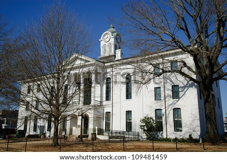Lafayette County Courthouse in Oxford, Mississippi in winter. - stock photo