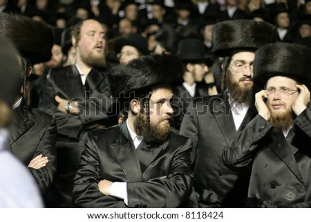 Lag Ba'omer pilgrims, meron, israel - stock photo