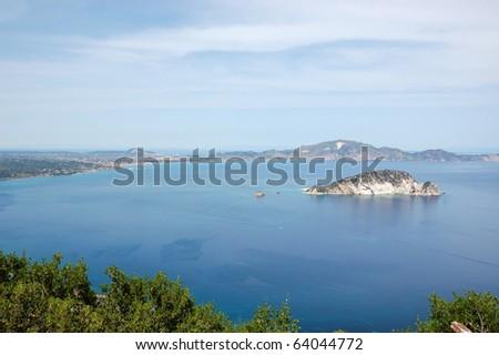 Laganas Keri national sea park and Marathonisi island where the caretta sea turtle lays its eggs. Zakynthos, Greece. - stock photo