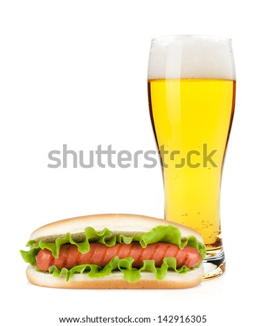 Lager beer glass and hotdod. Isolated on white background - stock photo
