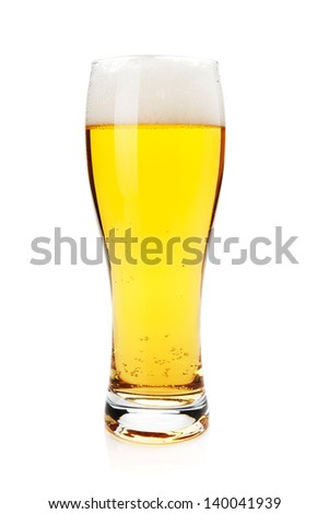 Lager beer glass. Isolated on white background - stock photo