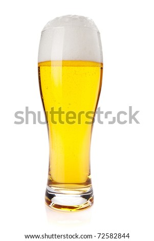 Lager beer glass. Isolated on white background