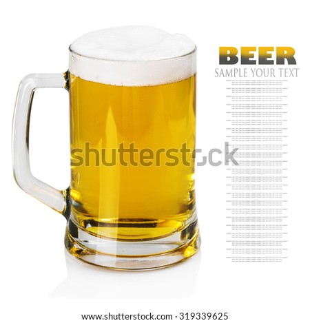 lager beer in a mug on a white background. Text example and removed - stock photo
