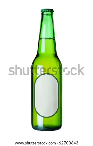 Lager beer in green bottle with blank label. Isolated on white background - stock photo