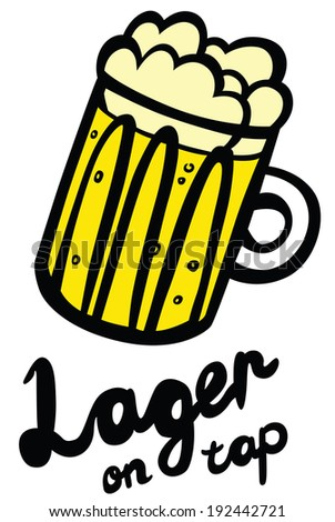 Lager Beer on Tap in Glass Mug - stock photo