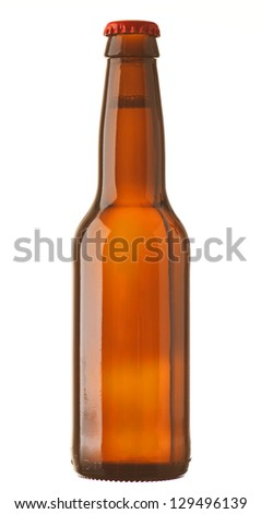 lager bottle with white background - stock photo