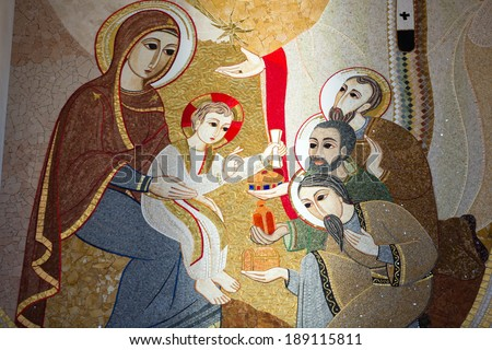 LAGIEWNIKI, KRAKOW, POLAND- DECEMBER 28, 2013: The centre of Pope John Paul II.. Christmas nativity scene with three Wise Men presenting gifts to baby Jesus, Mary & Joseph  - stock photo