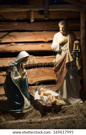 LAGIEWNIKI, KRAKOW, POLAND- DECEMBER 28, 2013:The Centre of Pope John Paul II. nativity scene with  figures made out of wood