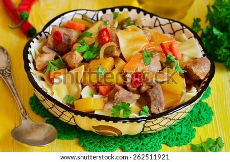 Lagman - traditional dish of uzbek cuisine. - stock photo