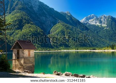 Lago del Predil - Friuli Italy /  (Predil Lake), beautiful alpine lake in north Italy near the Slovenian border. Julian Alps, Friuli Venezia Giulia, Italy - stock photo