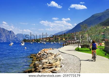 Lago di Garda activities beautiful lake in north of Italy - stock photo
