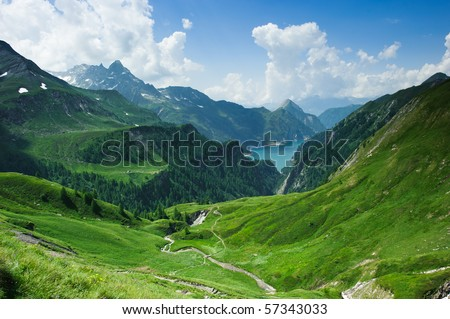 Lago di Luzzone, upper Blenio valley, Tessin, Switzerland - stock photo