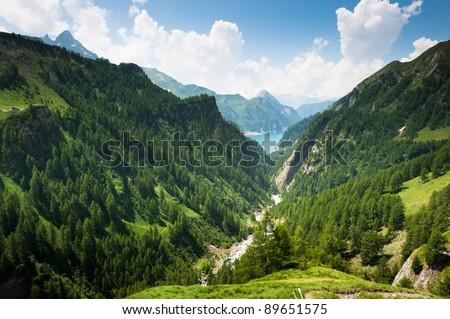 Lago di Luzzone, upper Blenio valley, Tessin, Switzerland - stock photo